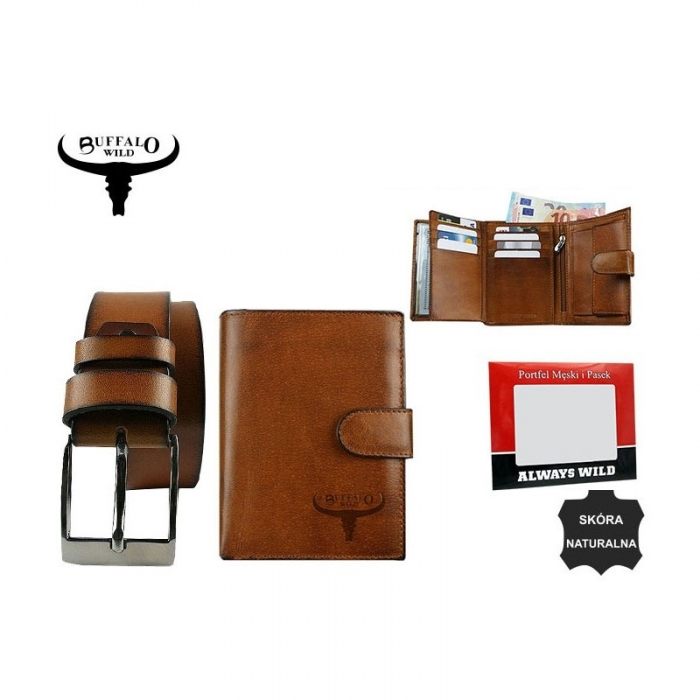 Set cadou barbati (portofel + curea) din piele naturala Wild BuffalOPORM636 10