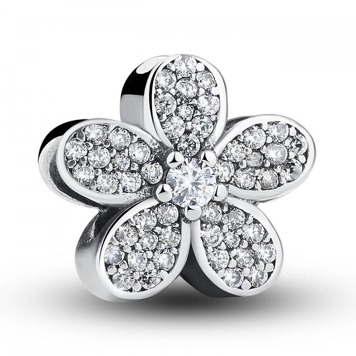 Charm argint 925 cu floricele si zirconii albe - Be Nature PST0021 0