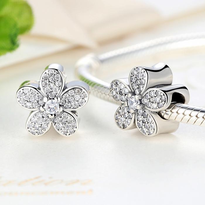 Charm argint 925 cu floricele si zirconii albe - Be Nature PST0021 1