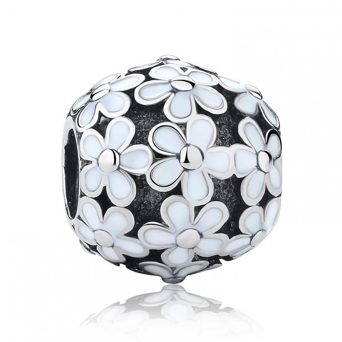 Charm argint 925 cu floricele albe - Be Nature PST0031 0