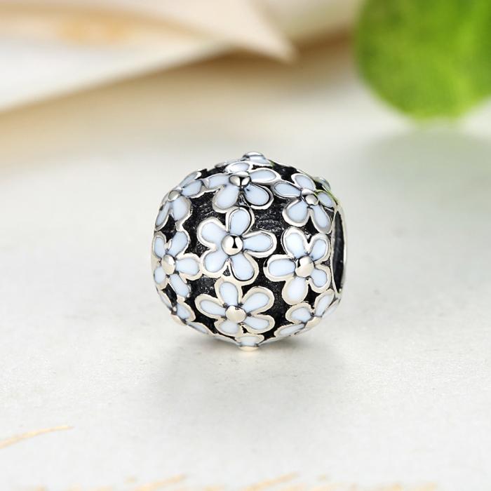 Charm argint 925 cu floricele albe - Be Nature PST0031 3