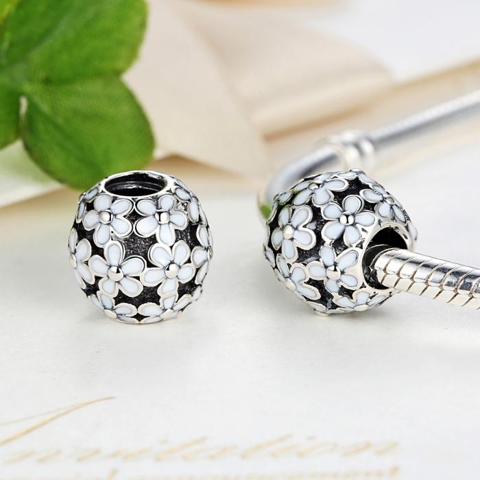 Charm argint 925 cu floricele albe - Be Nature PST0031 4