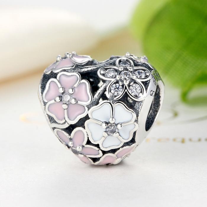 Charm argint 925 inimioara cu flori si zirconii - Be in Love PST0036 3