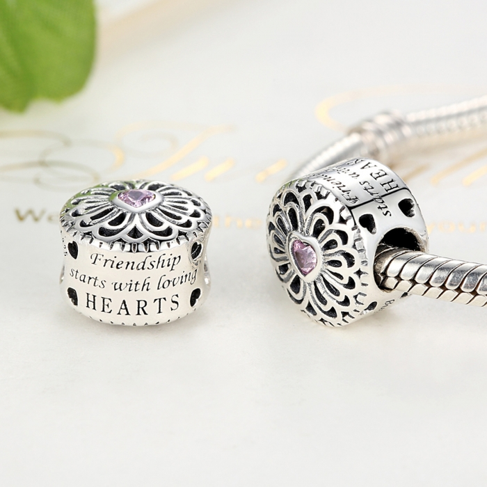 Charm argint 925 cu floare si inima roz - Friendship starts with loving hearts - Be Nature PST0041 2