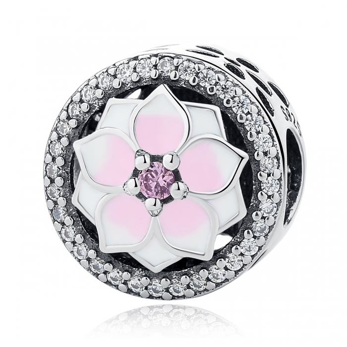 Charm argint 925 cu floare roz si zirconii albe - Be Nature PST0049 0