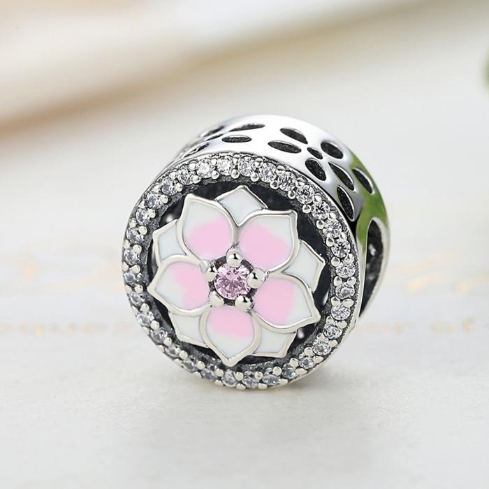 Charm argint 925 cu floare roz si zirconii albe - Be Nature PST0049 2