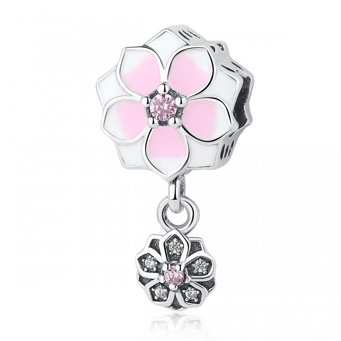 Charm argint 925 cu floricele roz si zirconii albe si roz - Be Nature PST0050 0
