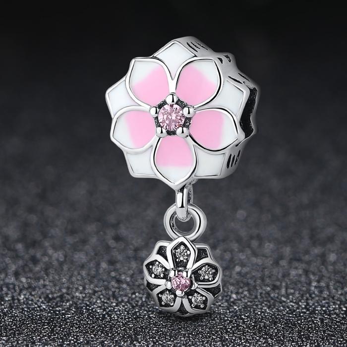 Charm argint 925 cu floricele roz si zirconii albe si roz - Be Nature PST0050 1