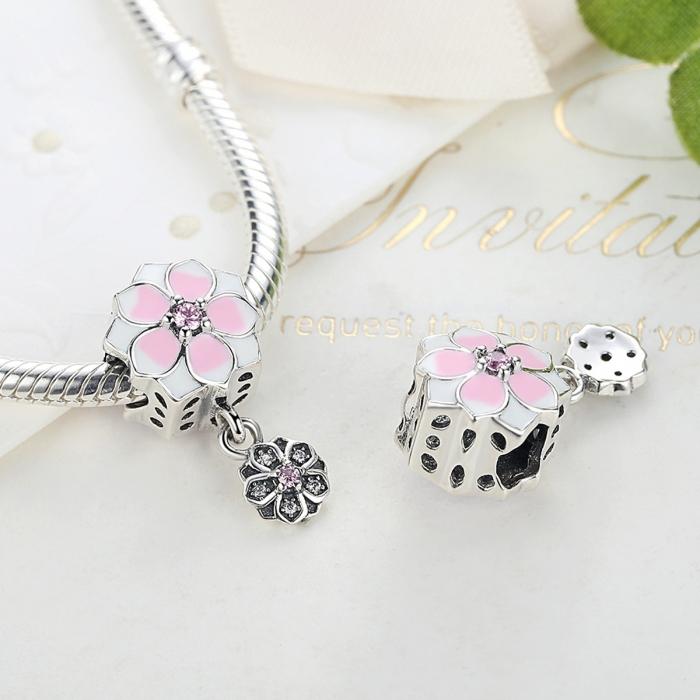 Charm argint 925 cu floricele roz si zirconii albe si roz - Be Nature PST0050 2