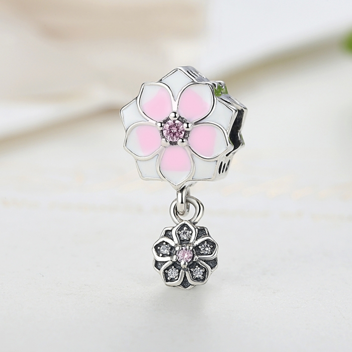 Charm argint 925 cu floricele roz si zirconii albe si roz - Be Nature PST0050 4