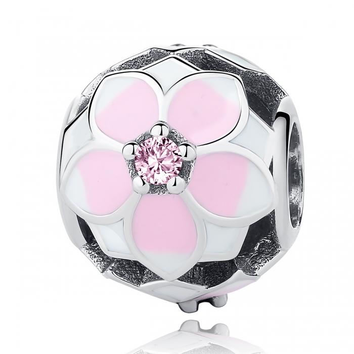 Charm argint 925 cu floricele roz si zirconii albe si roz - Be Nature PST0051 0