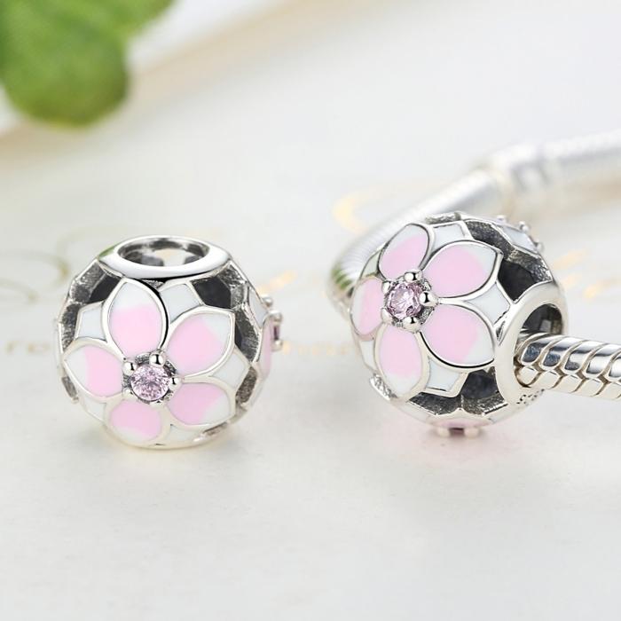 Charm argint 925 cu floricele roz si zirconii albe si roz - Be Nature PST0051 2