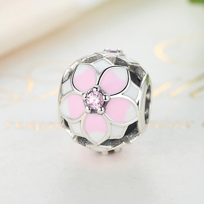 Charm argint 925 cu floricele roz si zirconii albe si roz - Be Nature PST0051 4