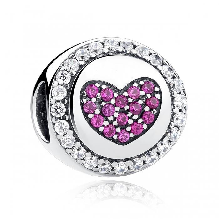 Charm argint 925 inimioara cu zirconii albe si roz - Be in Love PST0055 0