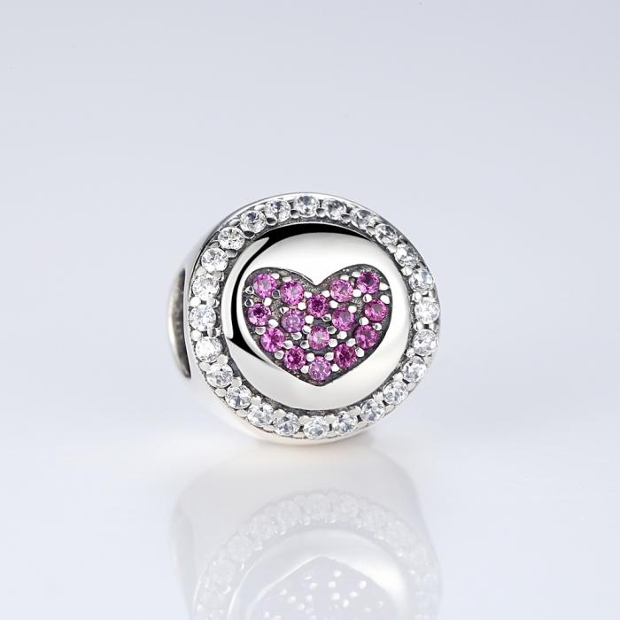 Charm argint 925 inimioara cu zirconii albe si roz - Be in Love PST0055 2