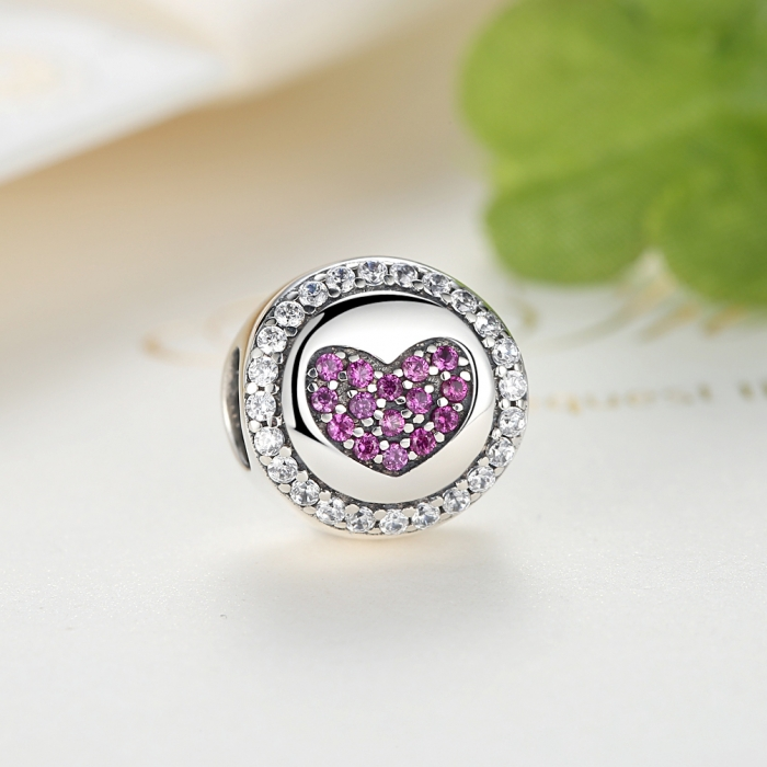 Charm argint 925 inimioara cu zirconii albe si roz - Be in Love PST0055 3