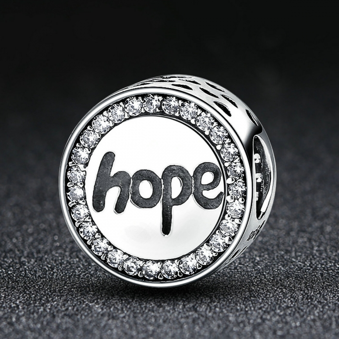 Charm argint 925 Hope-Speranta cu zirconii albe - Be Elegant PST0057 1