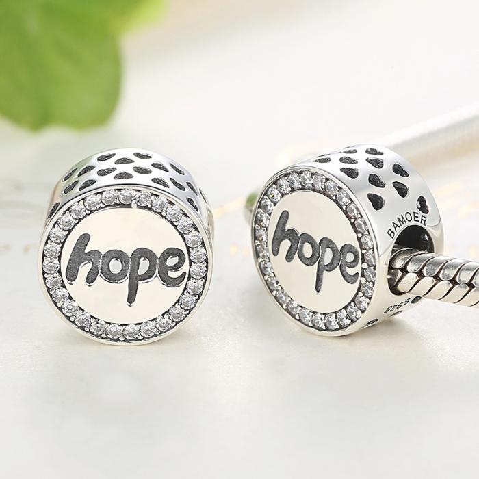 Charm argint 925 Hope-Speranta cu zirconii albe - Be Elegant PST0057 2