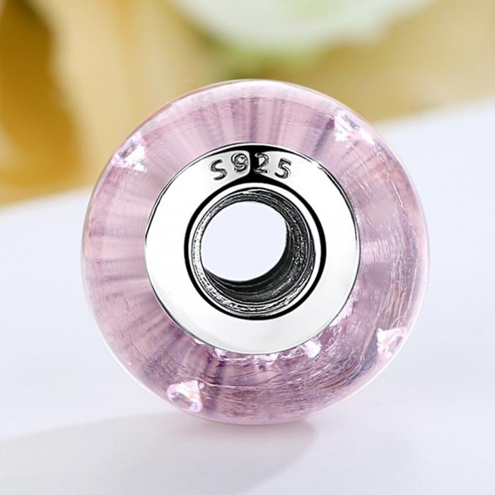 Charm argint 925 cu sticla roz - Be Elegant PST0068 2