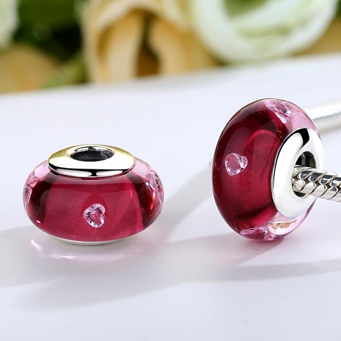Charm argint 925 cu sticla roz cu inimioare - Be Elegant PST0073 1