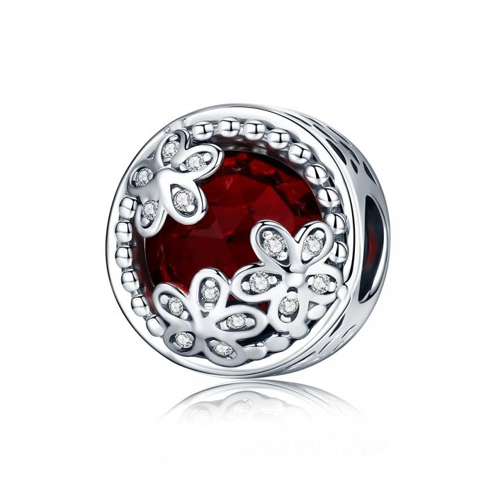 Charm argint 925 cu cristal rosu, floricele si zirconii albe - Be Nature PST0076 0