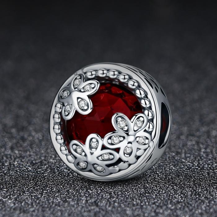 Charm argint 925 cu cristal rosu, floricele si zirconii albe - Be Nature PST0076 1