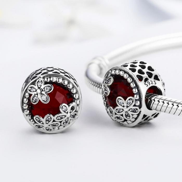 Charm argint 925 cu cristal rosu, floricele si zirconii albe - Be Nature PST0076 2