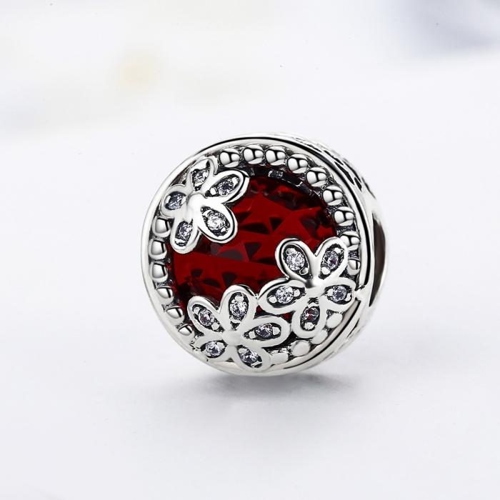 Charm argint 925 cu cristal rosu, floricele si zirconii albe - Be Nature PST0076 3