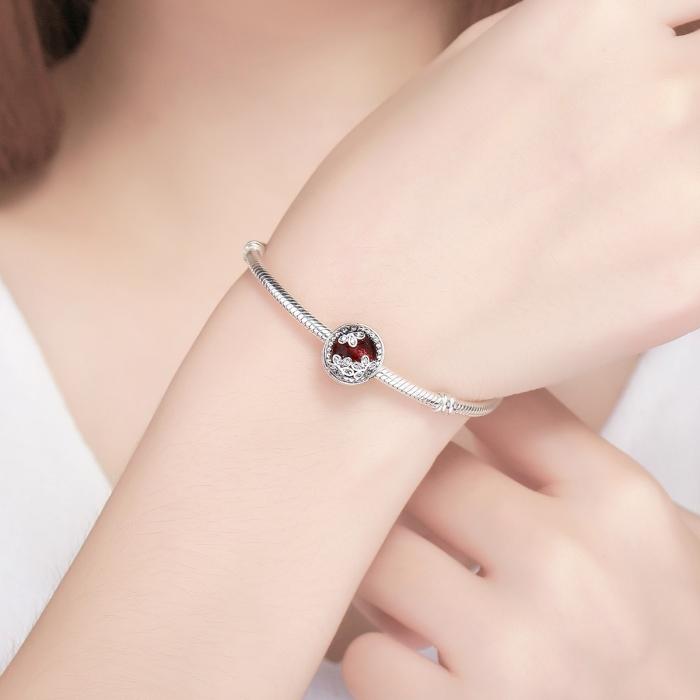 Charm argint 925 cu cristal rosu, floricele si zirconii albe - Be Nature PST0076 4