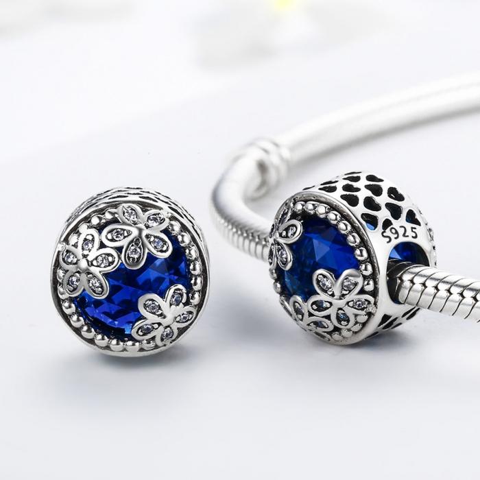 Charm argint 925 cu cristal albastru, floricele si zirconii albe - Be Nature PST0077 2