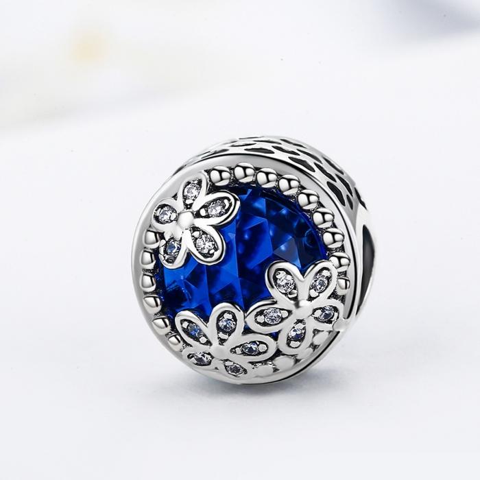 Charm argint 925 cu cristal albastru, floricele si zirconii albe - Be Nature PST0077 3