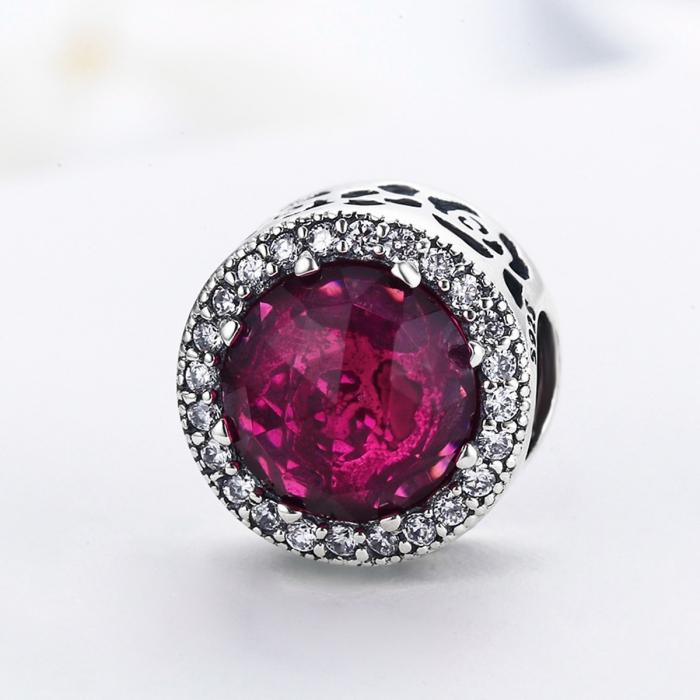 Charm argint 925 cu cristal rosu si zirconii albe - Be Elegant PST0078 3