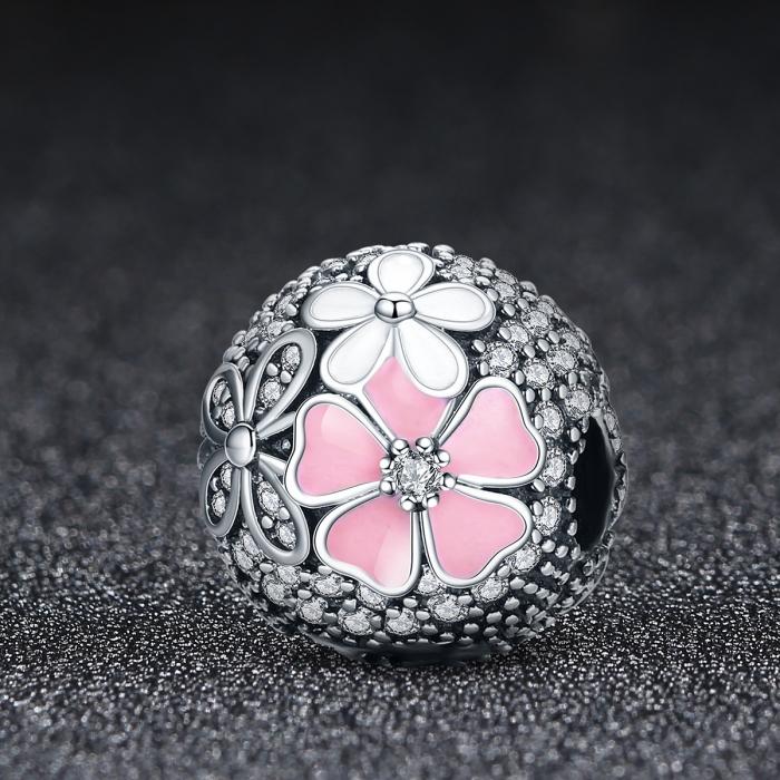Charm argint 925 cu floricele si zirconii albe (se deschide) - Be Nature PST0079 1