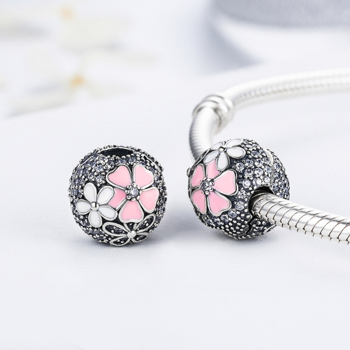 Charm argint 925 cu floricele si zirconii albe (se deschide) - Be Nature PST0079 2