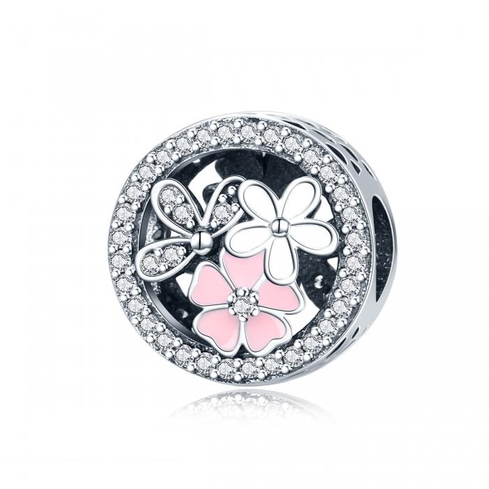 Charm argint 925 cu floricele si zirconii albe - Be Nature PST0080 0