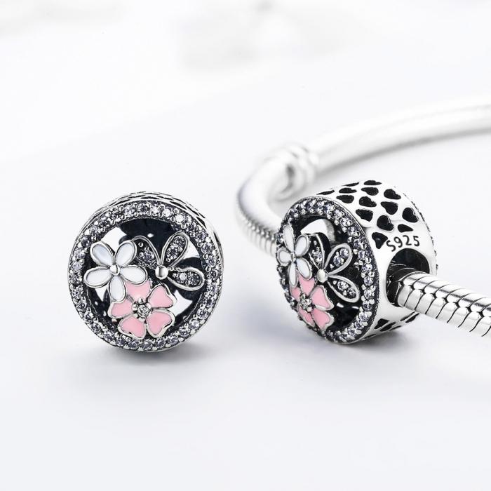 Charm argint 925 cu floricele si zirconii albe - Be Nature PST0080 2