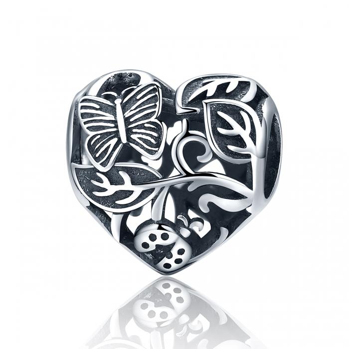 Charm argint 925 cu inimioara cu fluturas si floricele - Be in Love PST0082 0