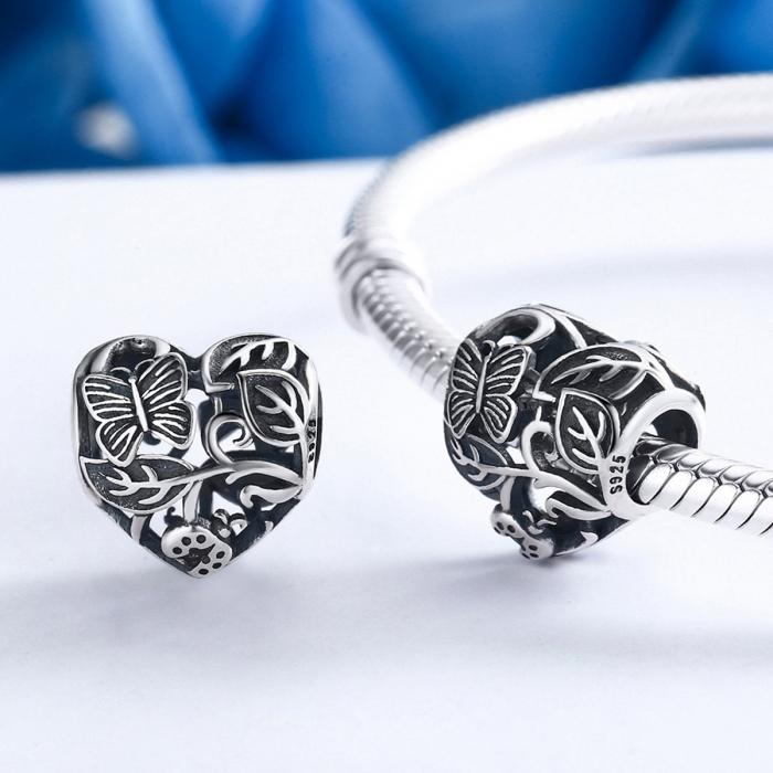 Charm argint 925 cu inimioara cu fluturas si floricele - Be in Love PST0082 1