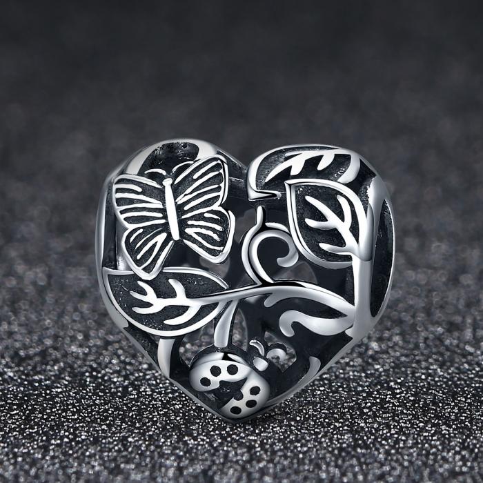 Charm argint 925 cu inimioara cu fluturas si floricele - Be in Love PST0082 2
