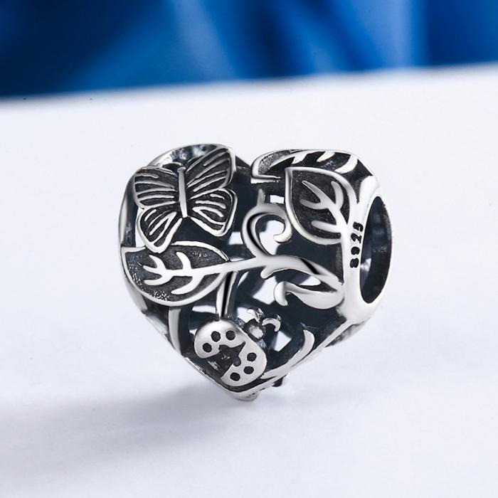 Charm argint 925 cu inimioara cu fluturas si floricele - Be in Love PST0082 3