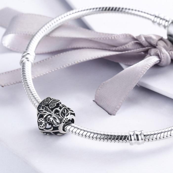 Charm argint 925 cu inimioara cu fluturas si floricele - Be in Love PST0082 4