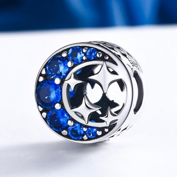 Charm argint 925 semiluna cu stelute argintii si zirconii albastre - Be Nature PST0084 3