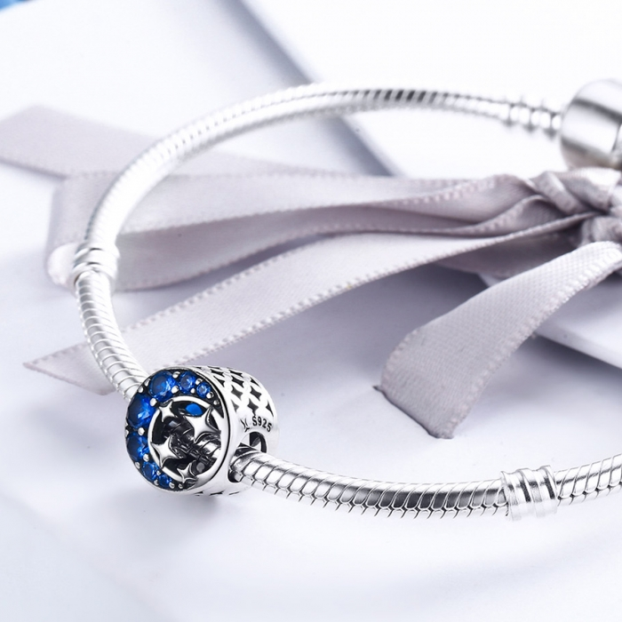 Charm argint 925 semiluna cu stelute argintii si zirconii albastre - Be Nature PST0084 4