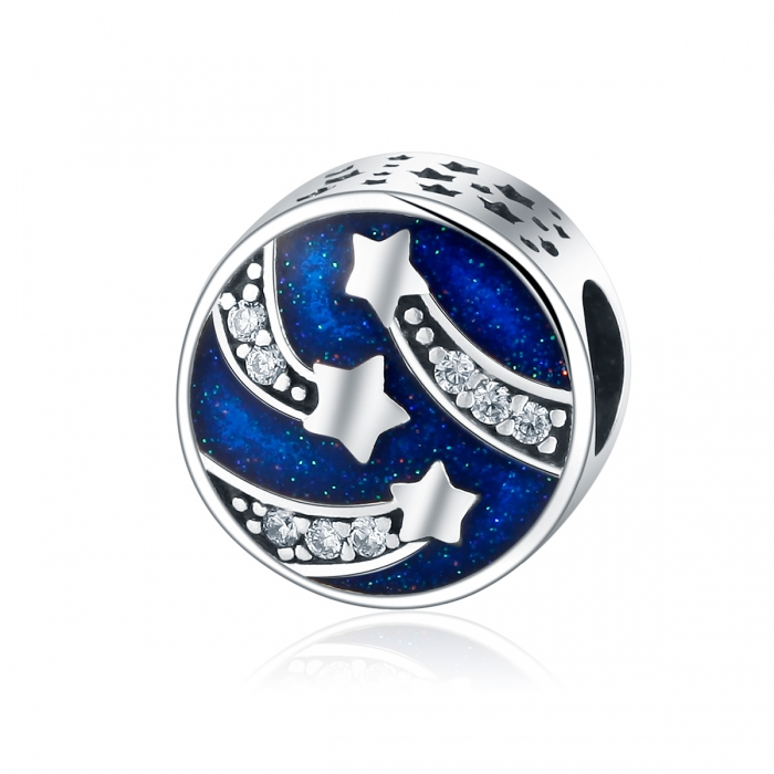 Charm argint 925 albastru cu stelute argintii si zirconii albe - Be Nature PST0089 0