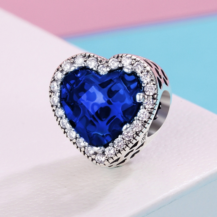 Charm argint 925 cristal albastru cu inimioare si zirconii albe - Be in Love PST0101 3