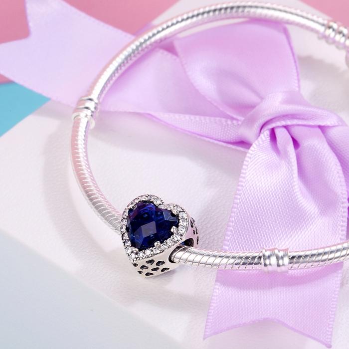 Charm argint 925 cristal albastru cu inimioare si zirconii albe - Be in Love PST0101 4
