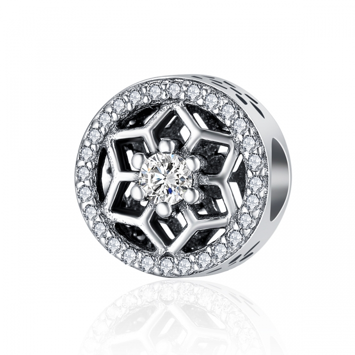 Charm argint 925 cu floricele si zirconii albe - Be Nature PST0103 0