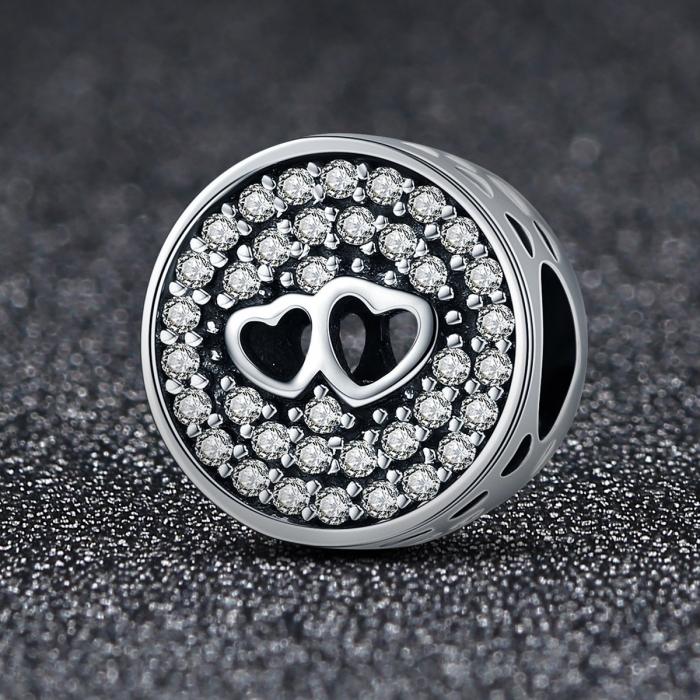 Charm argint 925 cu doua inimioare - Be in Love PST0106 1
