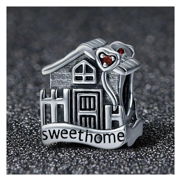 Charm argint 925 casuta Sweet Home cu inimioare rosii PST0107 1