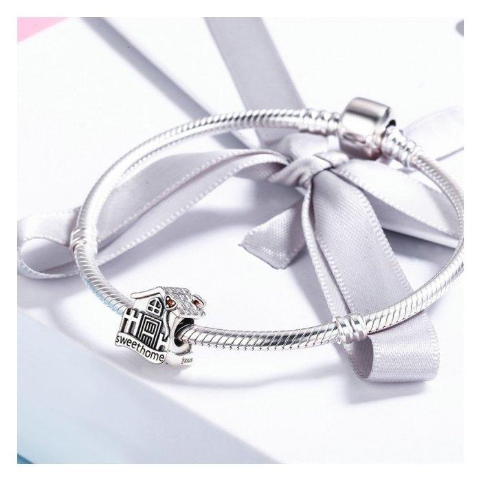 Charm argint 925 casuta Sweet Home cu inimioare rosii PST0107 4